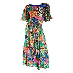 Amazing Vintage Diane Freis Psychedelic Colorful Bohemian Boho Dress