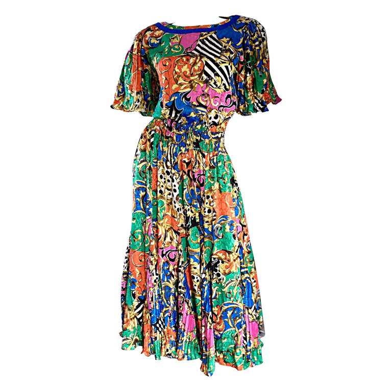 Amazing Vintage Diane Freis Psychedelic Colorful Bohemian Boho Dress For Sale