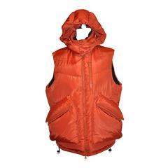 Y-3 Adidas Yoshji Yamamoto Bold Tangerine Down-Filled Men's Hooded Vest
