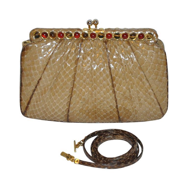 Judith Leiber Beige Python with Tiger's Eye and Garnet Stones Evening Bag For Sale