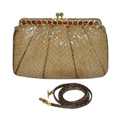Judith Leiber Beige Python with Tiger's Eye and Garnet Stones Evening Bag