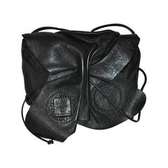 Carlos Falchi Signature Black Textured Calfskin Drawstring Shoulder Bag