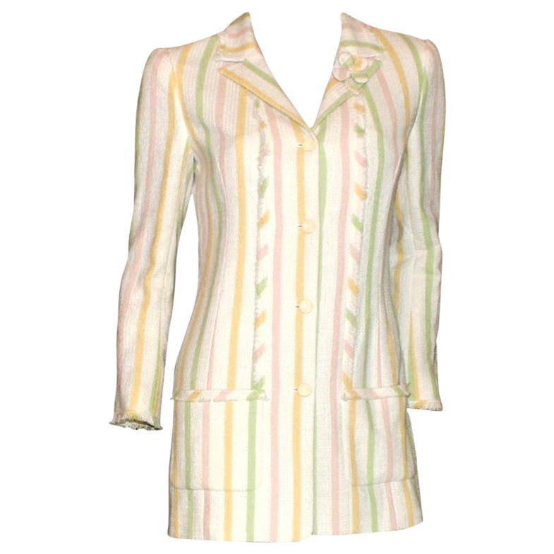Chanel Fringed Striped Pastels Tweed Jacket with CC Logo Buttons & Clover Brooch