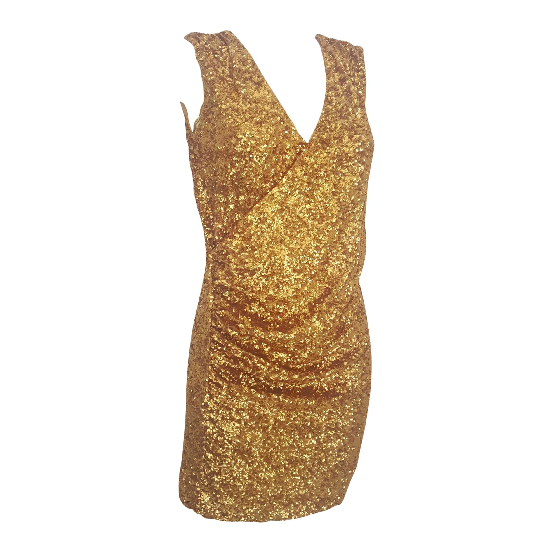 2000s Halston Heritage gold sequins embelisshed dress
