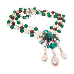 1960s Christian Dior Glass Pearl Necklace