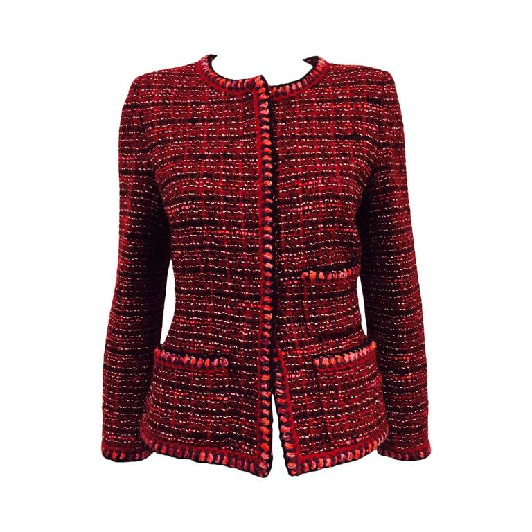 Chanel Fall Cranberry Tweed Jacket