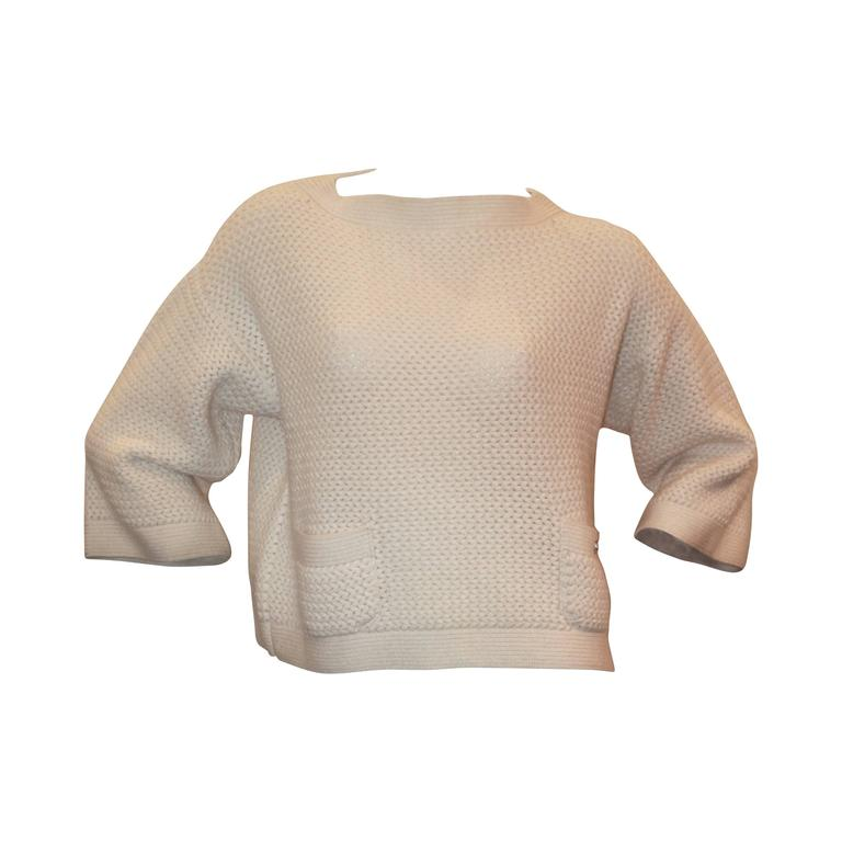 Chanel Ivory Cashmere Oversized Knitted Sweater Top - 2007 - 42 For Sale