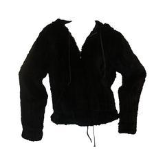 Sonia Rykiel Black Rabbit Knit Fur Zip Up Jacket w/ Hood-Medium - Circa 90's