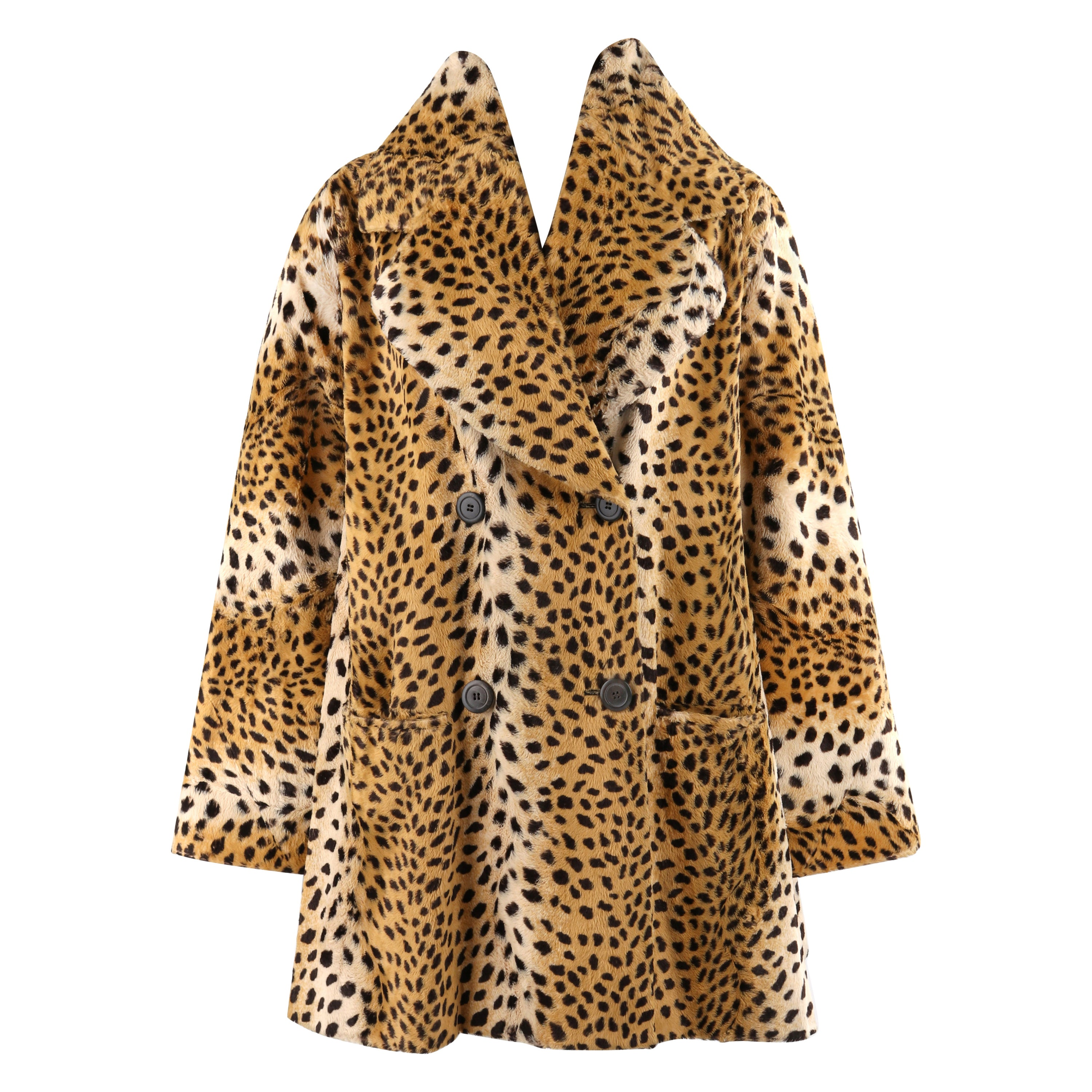 GIVENCHY COUTURE A/W 1997 ALEXANDER McQUEEN Cheetah Print Faux Fur Paneled Coat