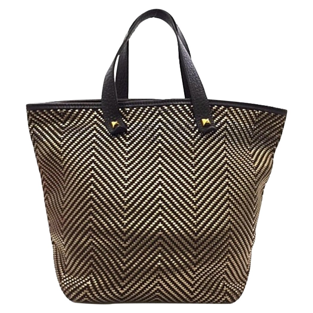 Hermes Brown Gold Leather Woven Carryall Top Handle Satchel Tote Bag