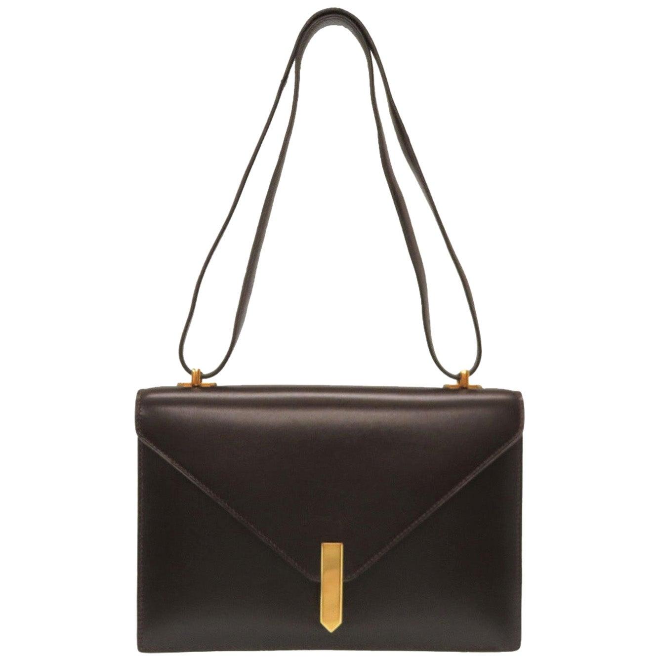 Hermes Brown Leather Gold Emblem Evening Top Handle Satchel Shoulder Flap Bag