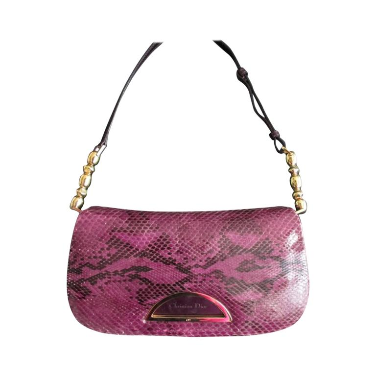 Christian Dior purple python leather bag