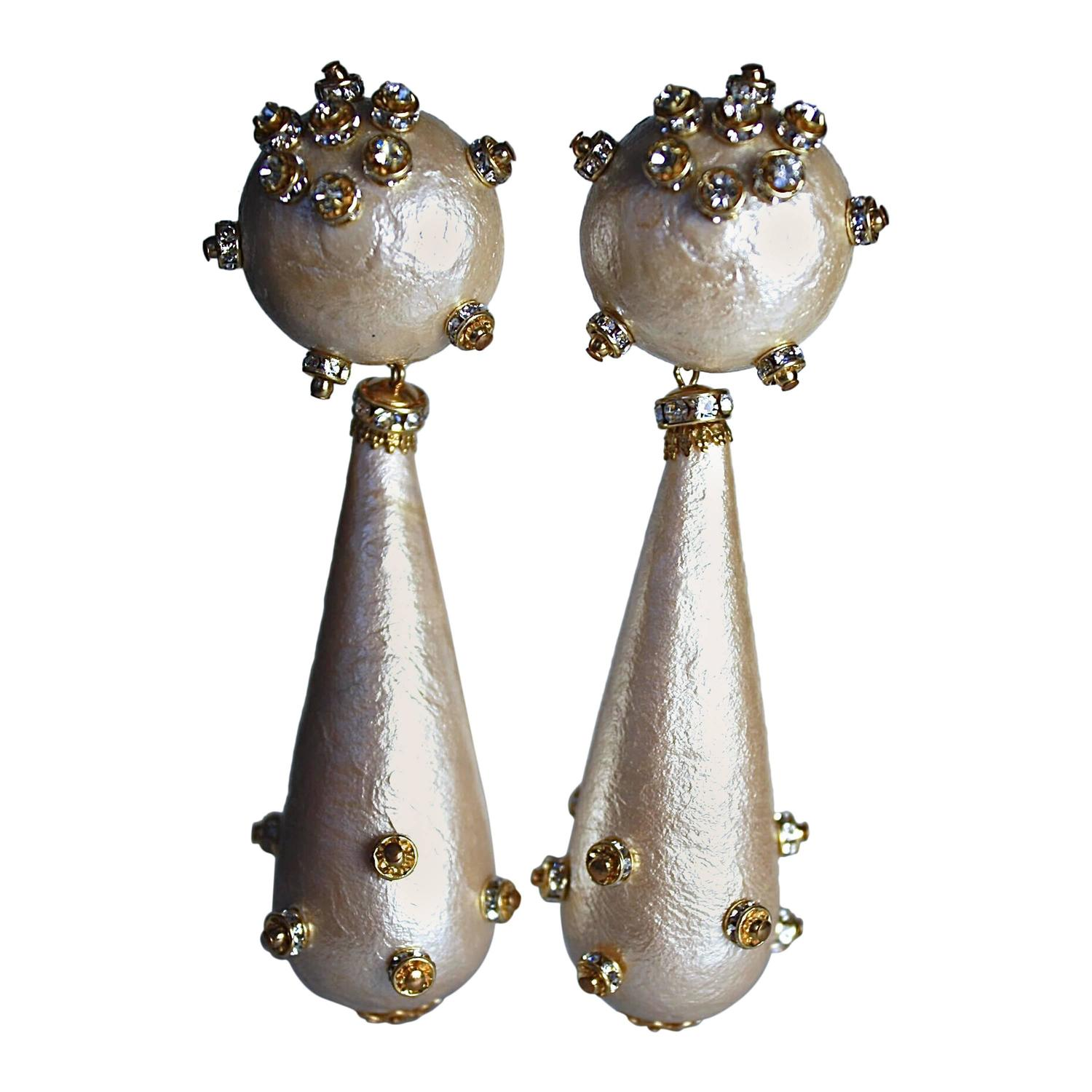 Francoise Montague Cotton Pearl And Crystal Clip Earrings For At 1stdibs