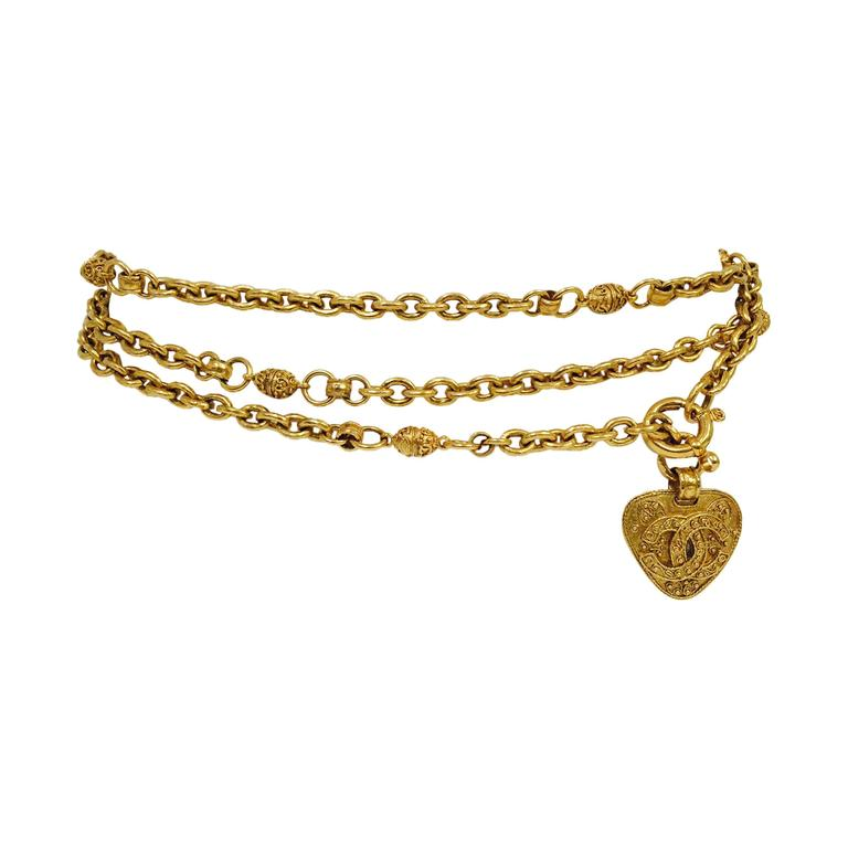Chanel Gold Tone Chain Belt With Heart  1