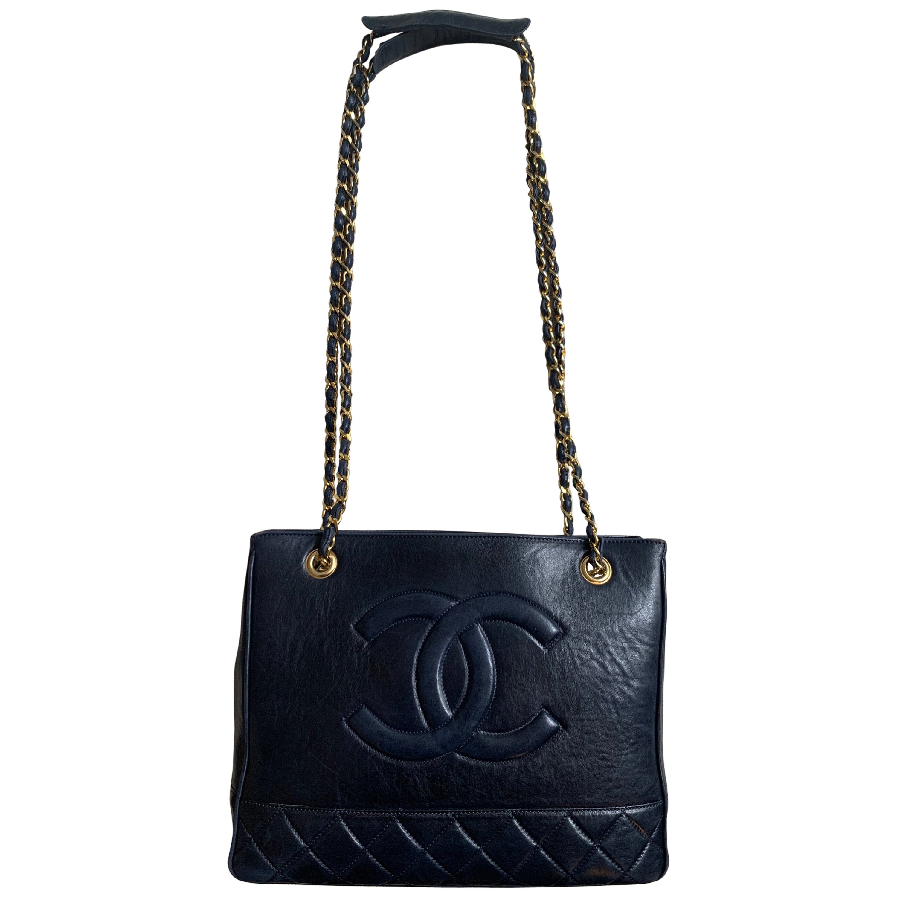 Vintage Chanel Cabas bag Navy leather and gold chain