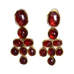"""Goossens Paris Tinted Rock Crystal """"Jaipur"""" Clip Earrings"""