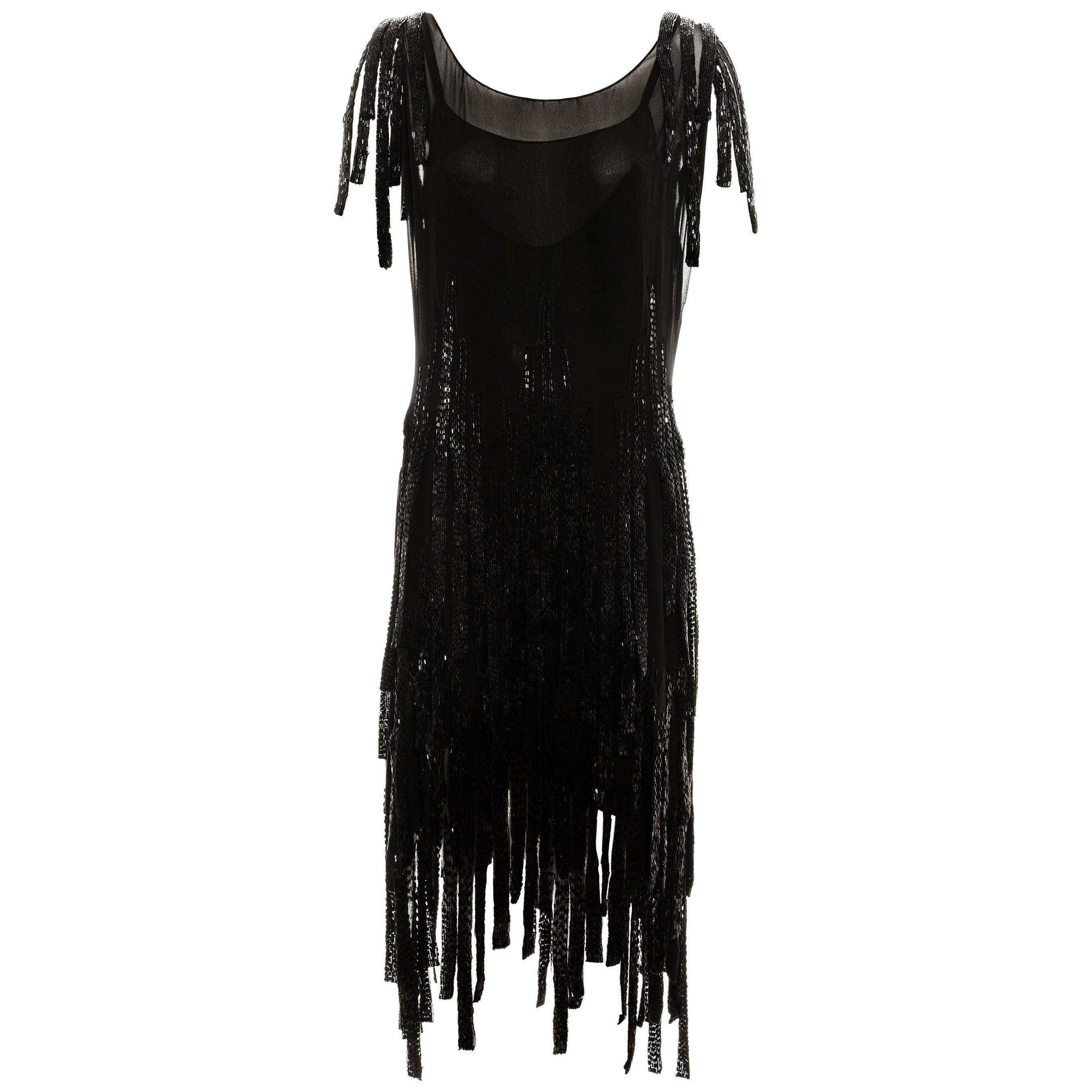 Gabrielle Chanel couture black silk beaded flapper dress, c. 1924 - 1926