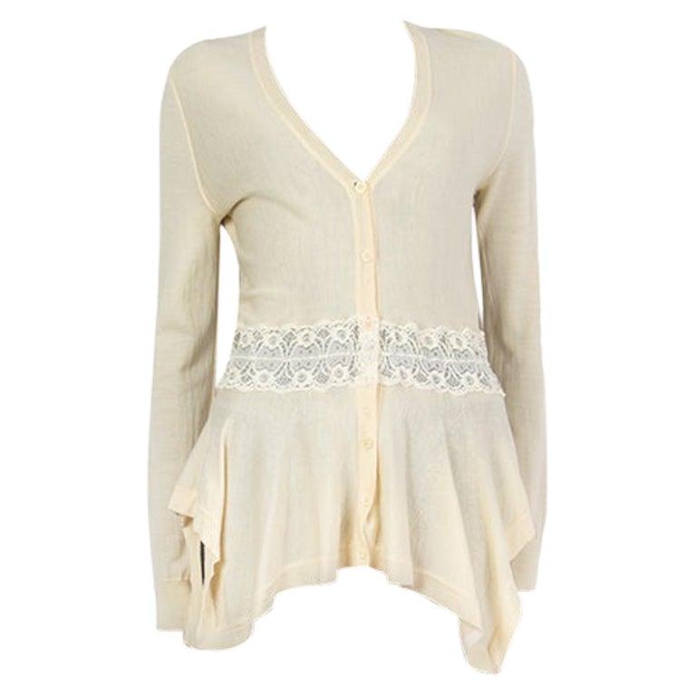 Alexander McQueen yellow wool LACE WAIST PEPLUM Cardigan Sweater L