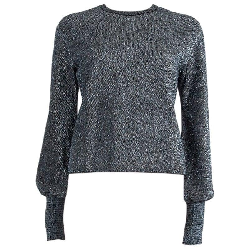 CHANEL blue & grey rayon LUREX Crewneck Sweater 38 S