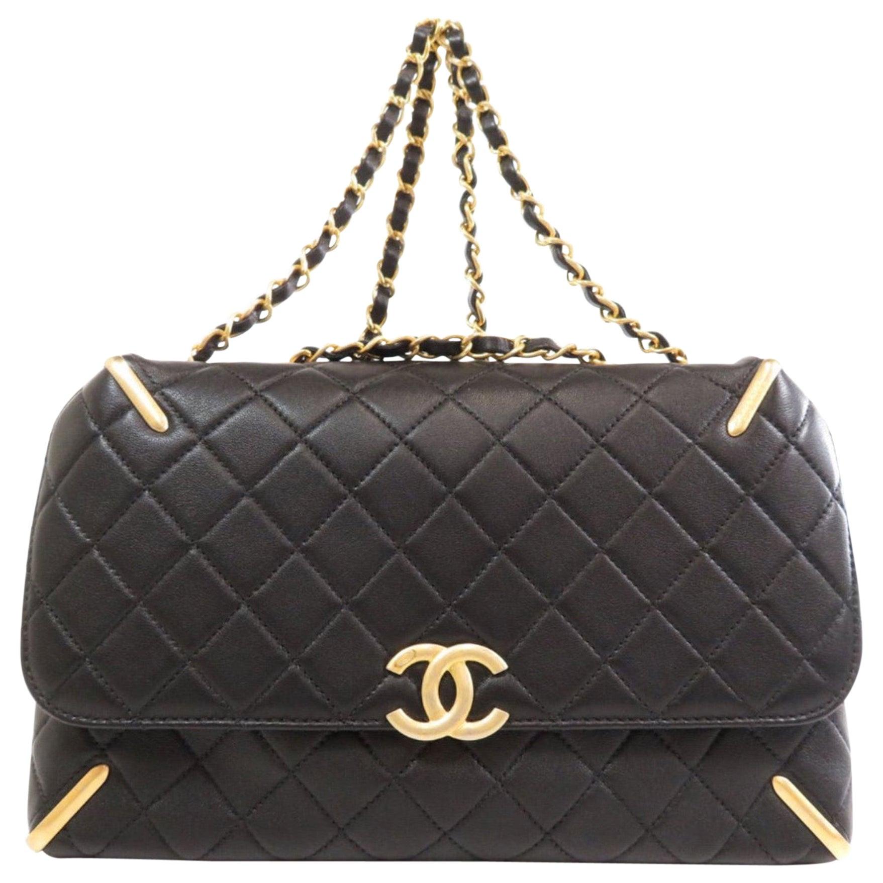 Chanel Black Leather Quilted Gold Evening Tote Carryall Shoulder Flap Bag