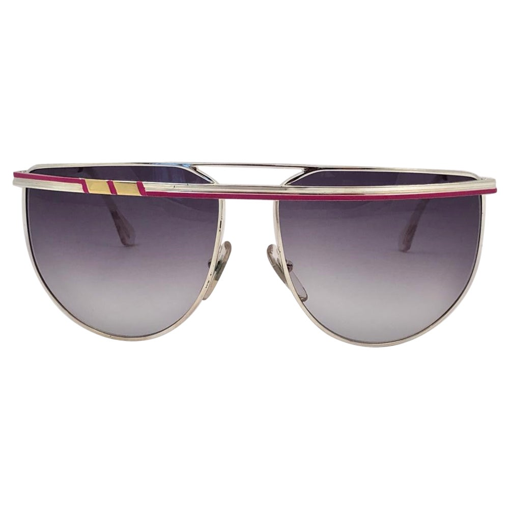 New Vintage Laura Biagiotti T48 Oversized Silver & Gold 1980 Sunglasses Italy