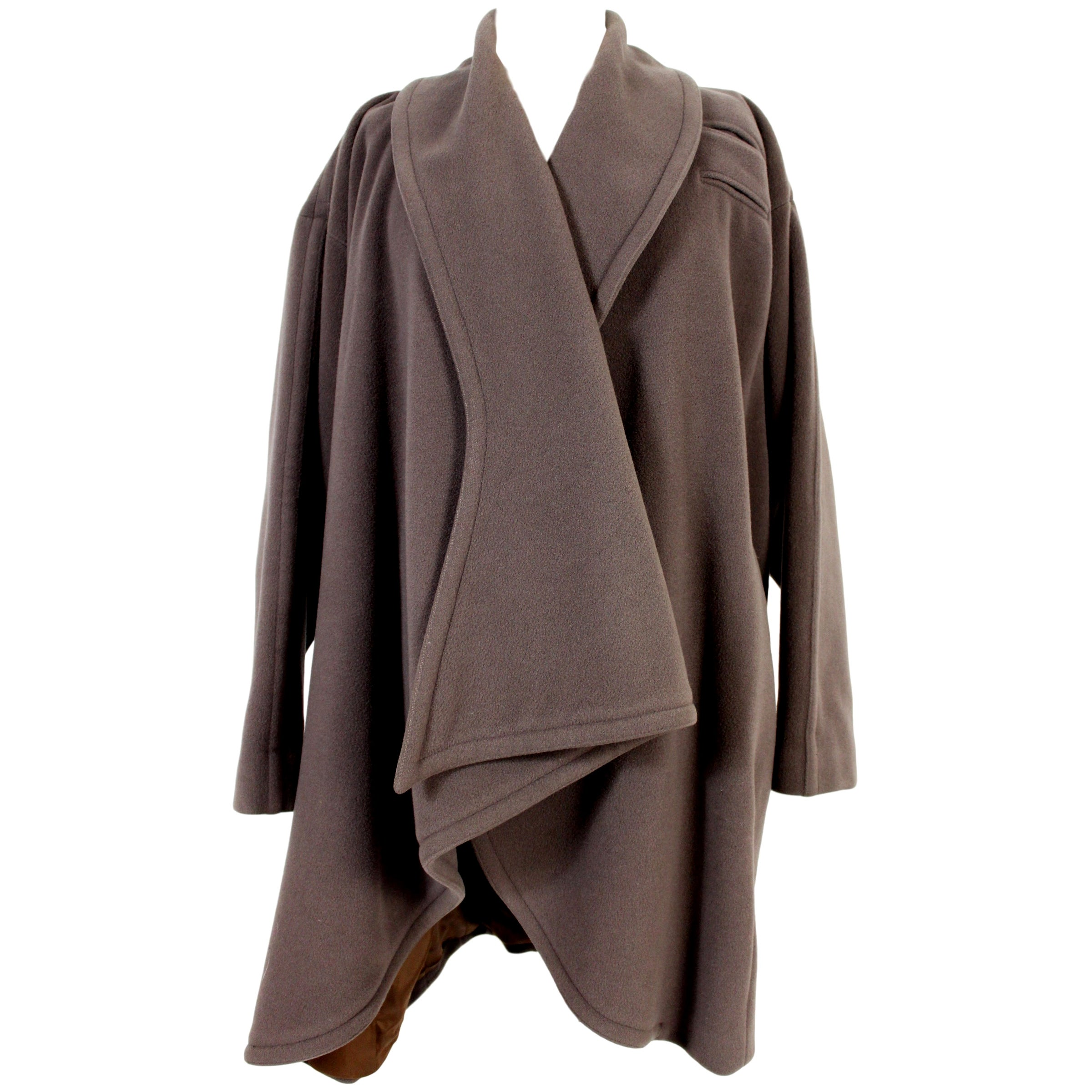 Enrico Coveri Brown Wool Long Hood Oversize Shawl Coat