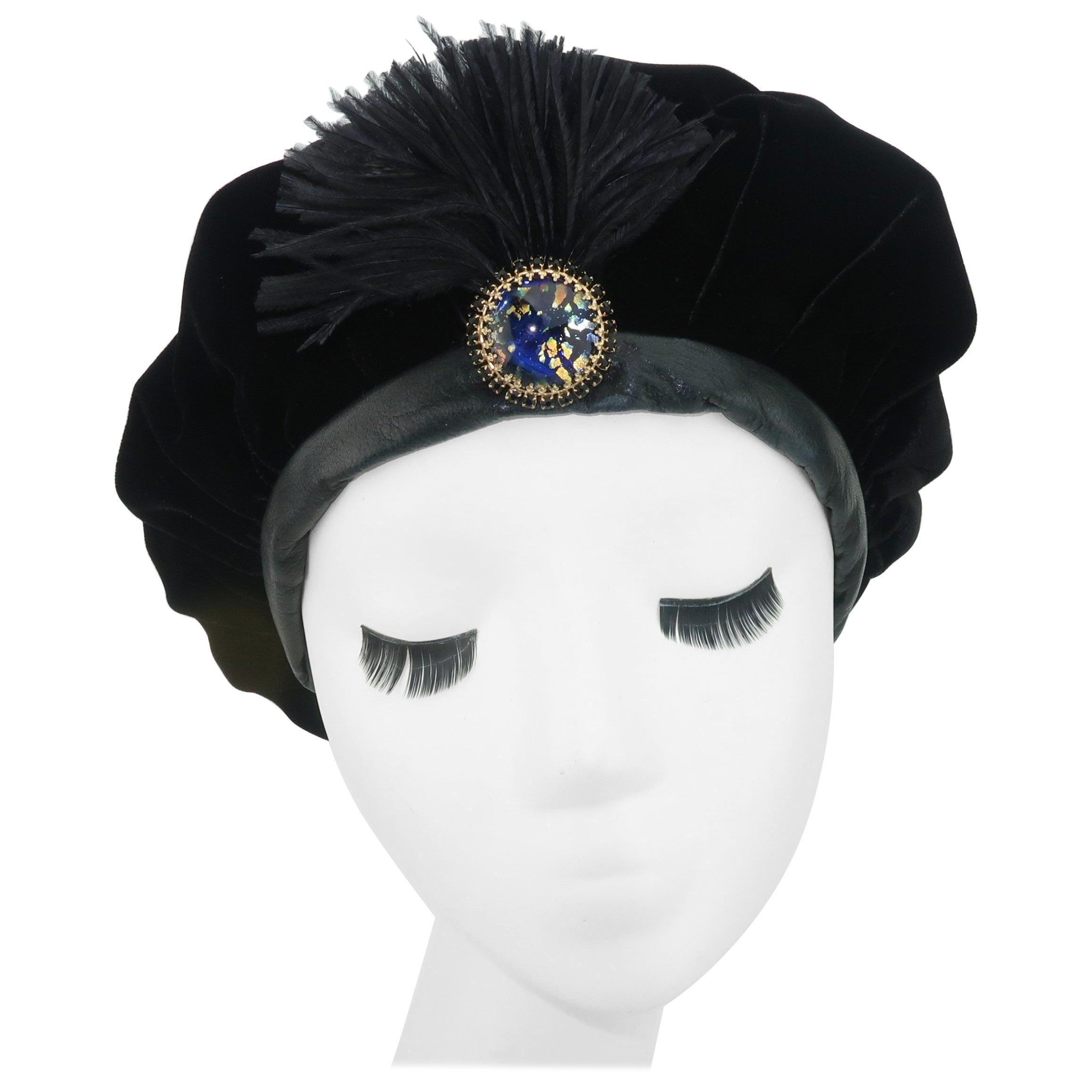 Black Velvet & Leather Beret Style Hat