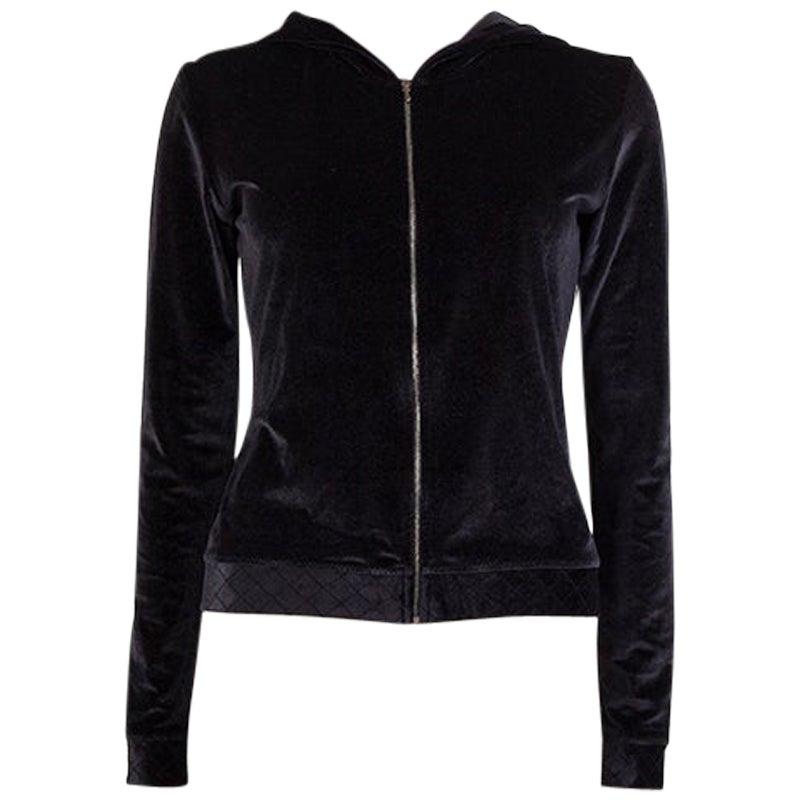 CHANEL black velvet ZIP-FRONT Hooded Cardigan Sweater L
