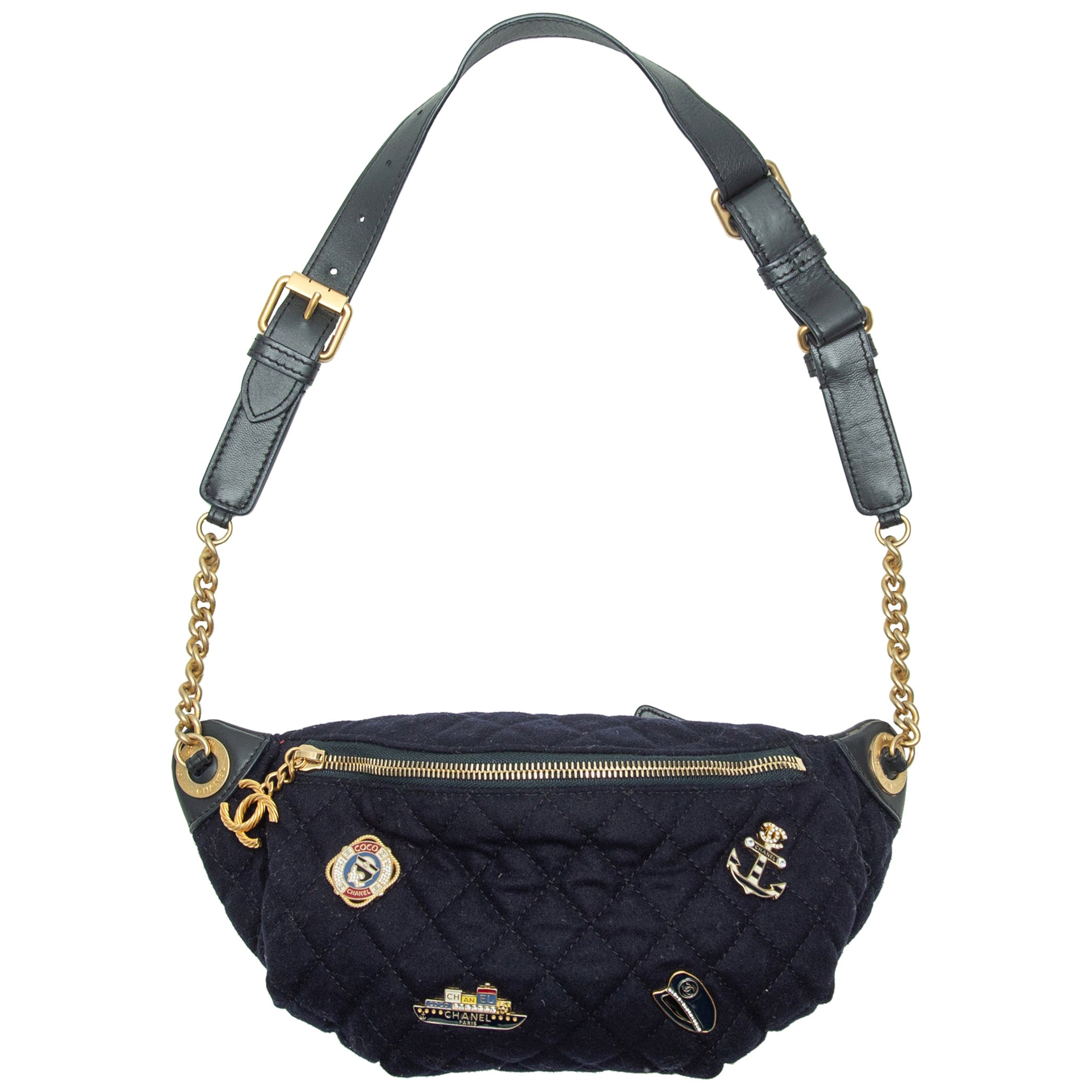 Chanel Navy Quilted Pin-Accented Belt Bag