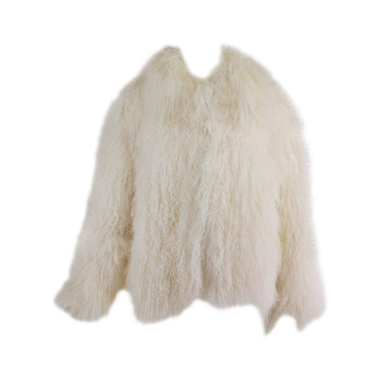Mongolian lamb fur jacket in white Marvin Richards 1980s Unworn For Sale