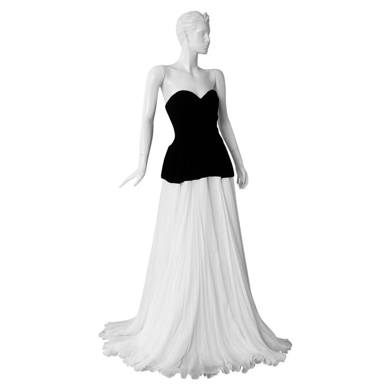 Alexander McQueen Black and White Gown, 2009   For Sale