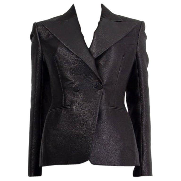 TOM FORD black & silver LUREX Fitted Blazer Jacket 36 XXS