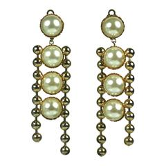Claire Deve Pearl and Gilt Ball Shoulder Duster Earclips