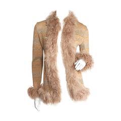 Valentino Metallic Knit Cardigan with Marabou Feather Trim