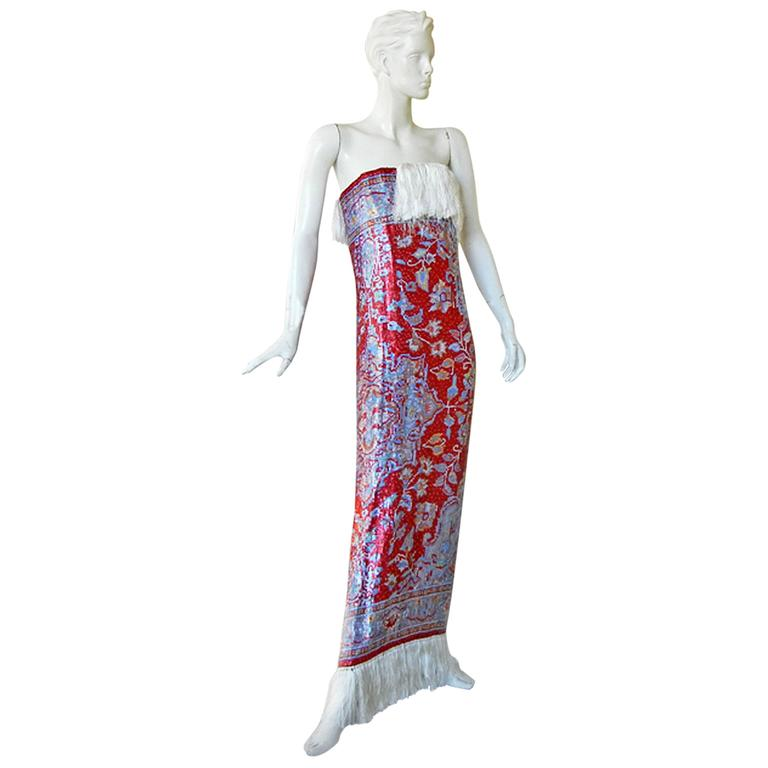 Rare Maison Margiela Beaded Tapestry Runway Gown