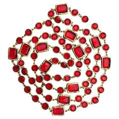 Chanel Red Crystal Sautoir Necklace 1981