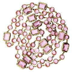 Chanel Pink Crystal Sautoir Necklace 1981
