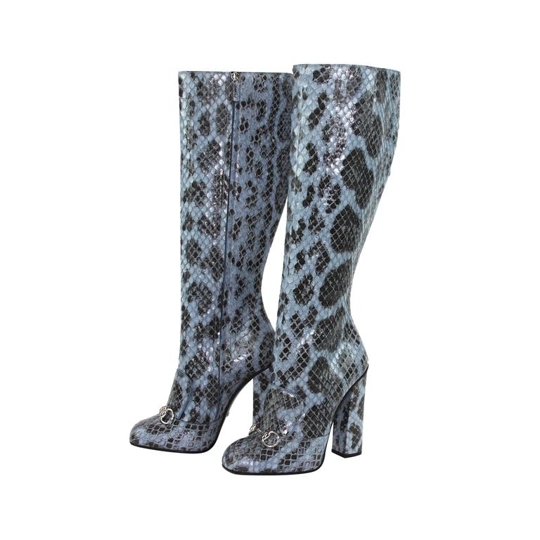New GUCCI PYTHON HORSEBIT KNEE HIGH BOOT AQUAMARINE  1