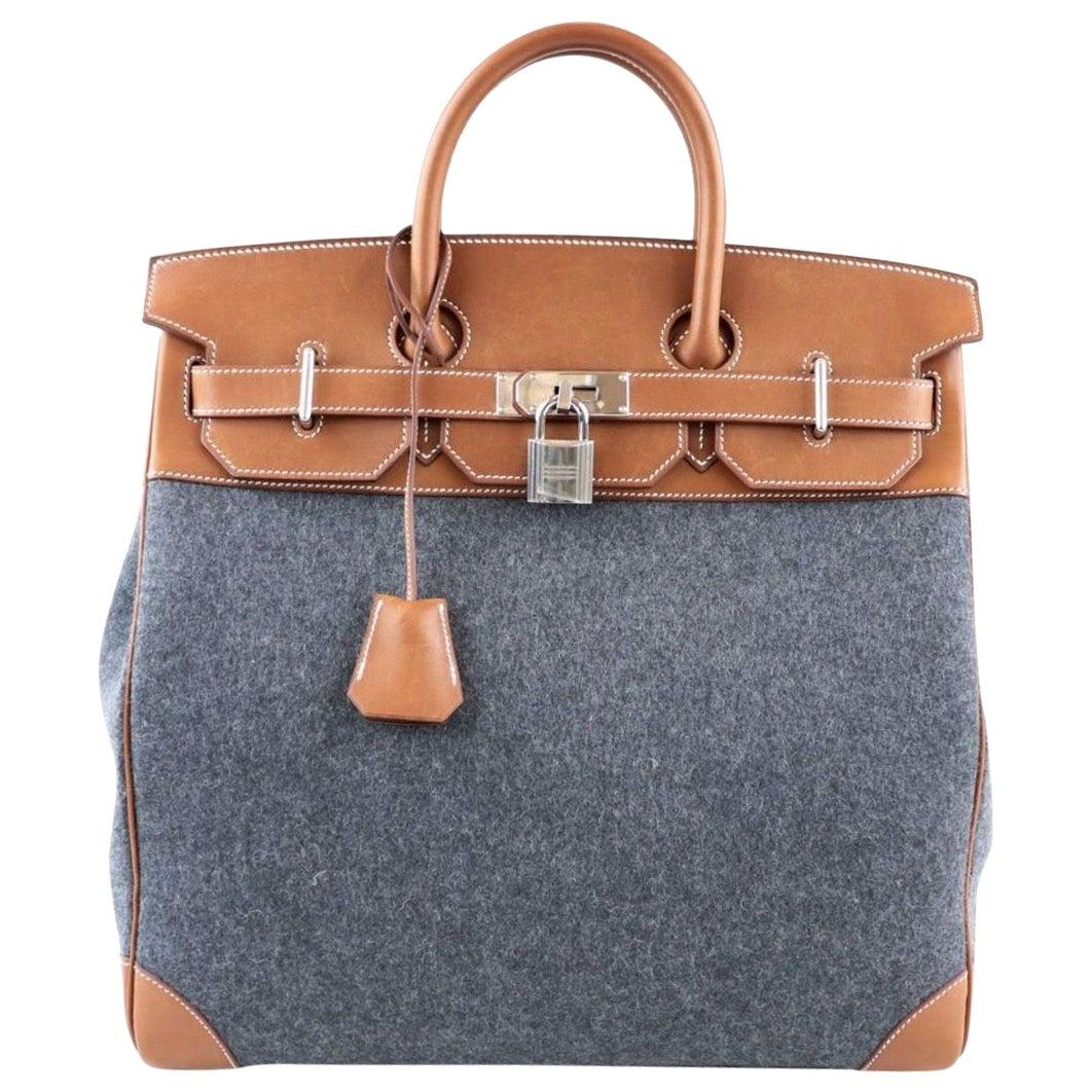 Hermes Birkin HAC 40 Gray Cognac Women's Men's Travel Top Handle Tote Bag