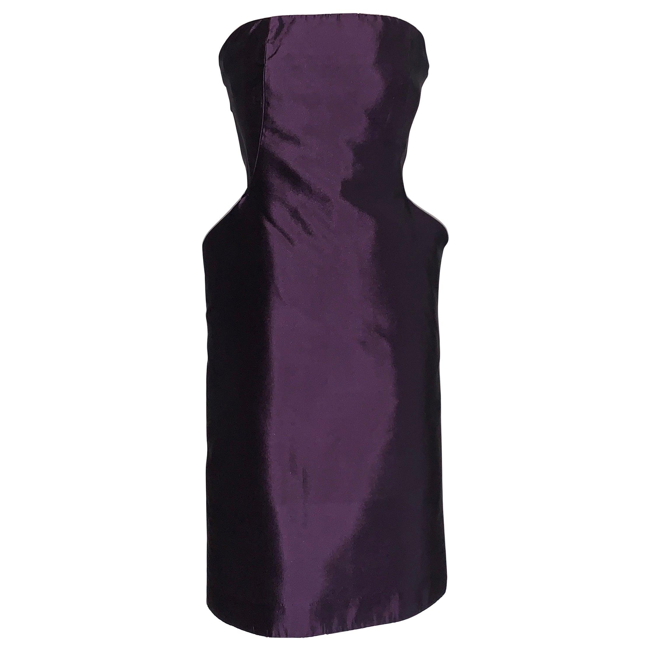 Alexander McQueen 2007 Purple Silk Sculptural Hip Pocket Detail Strapless Dress