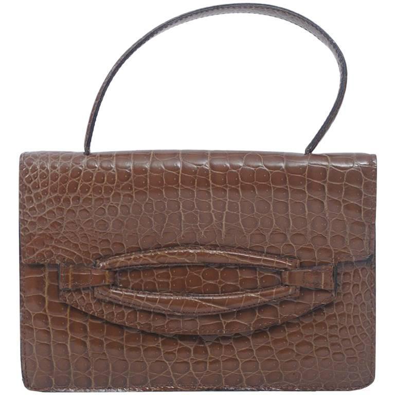 Cocoa Faux Croc Handbag