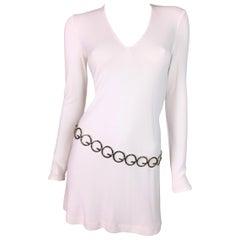 F/W 1996 Gucci by Tom Ford White Mini Dress w/ GG Logo Silver Belt