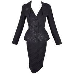 Christian Dior F/W 2005 Black Monogram Logo Pin-Up Bar Jacket Skirt Suit