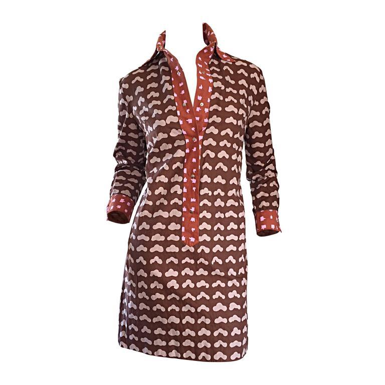 1960s Marimekko of Finland Novelty ' Cloud Print ' Cotton Shirt Dress 1969
