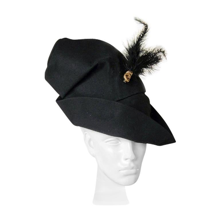 Adrian Custom Couture Exceptional Robin Hood Hat with Feather For Sale