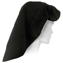 Adrian Black Silk Velvet Snood Hat   Excellent Condition!