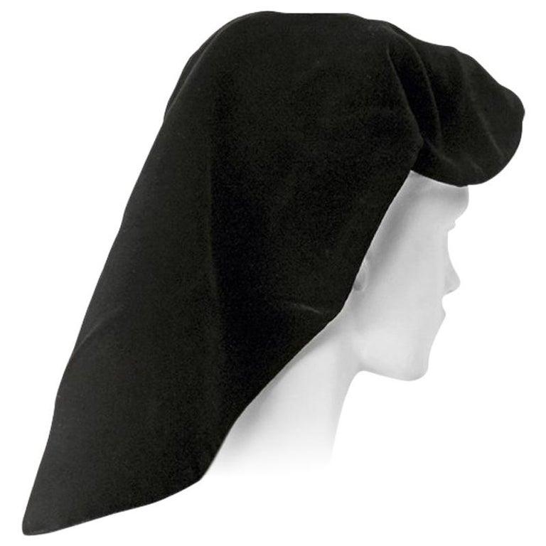 Adrian Black Silk Velvet Snood Hat   Excellent Condition! For Sale