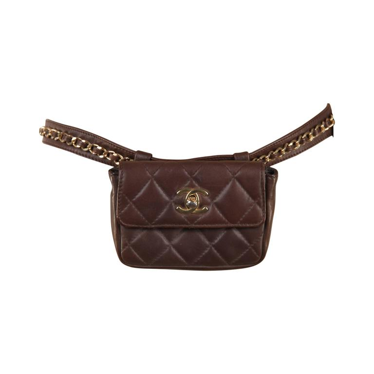 CHANEL Vintage Brown QUILTED Leather WAIST PURSE with Golden CHAIN BELT 1