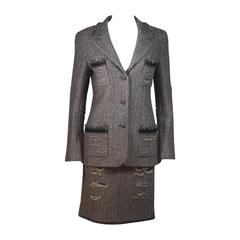 CHANEL Gold Metallic Tweed with Brown and Burgundy Skirt Suit Size 40