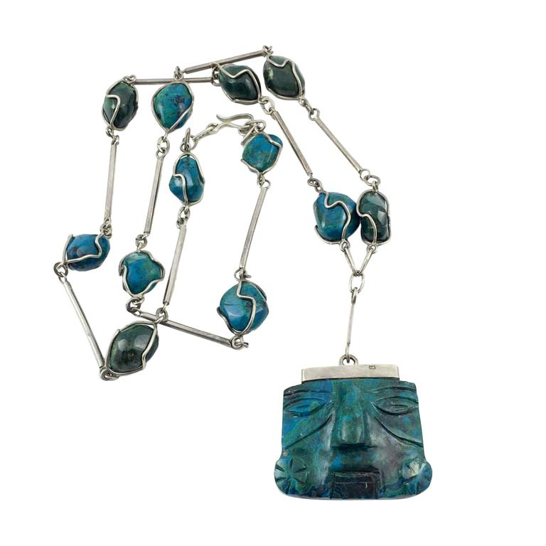 Silver and Peruvian Turquoise Necklace - 1970s 1